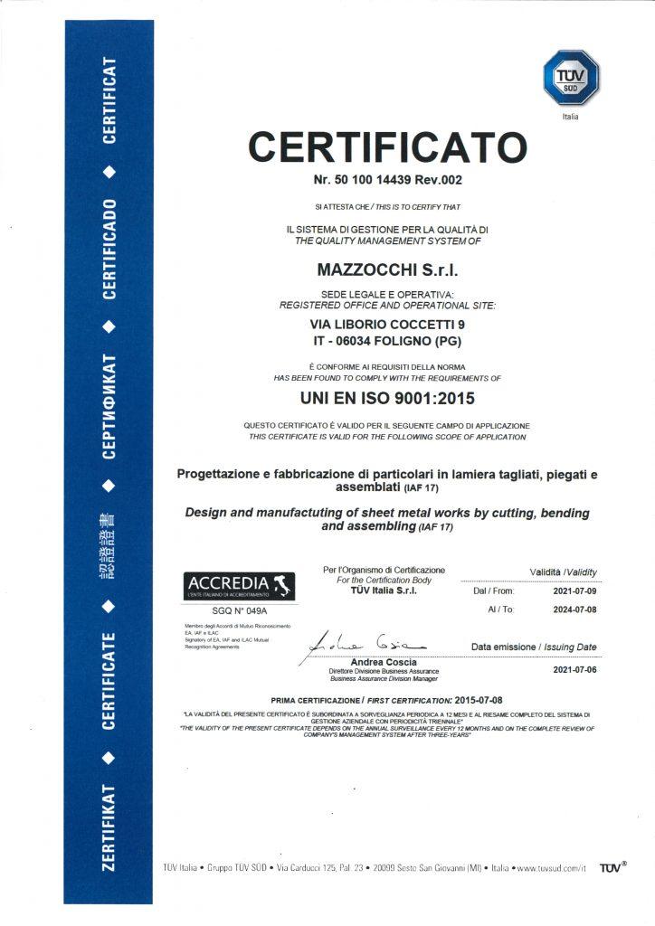 MAZZOCCHI - Certificazione UNI EN ISO 9001-2015